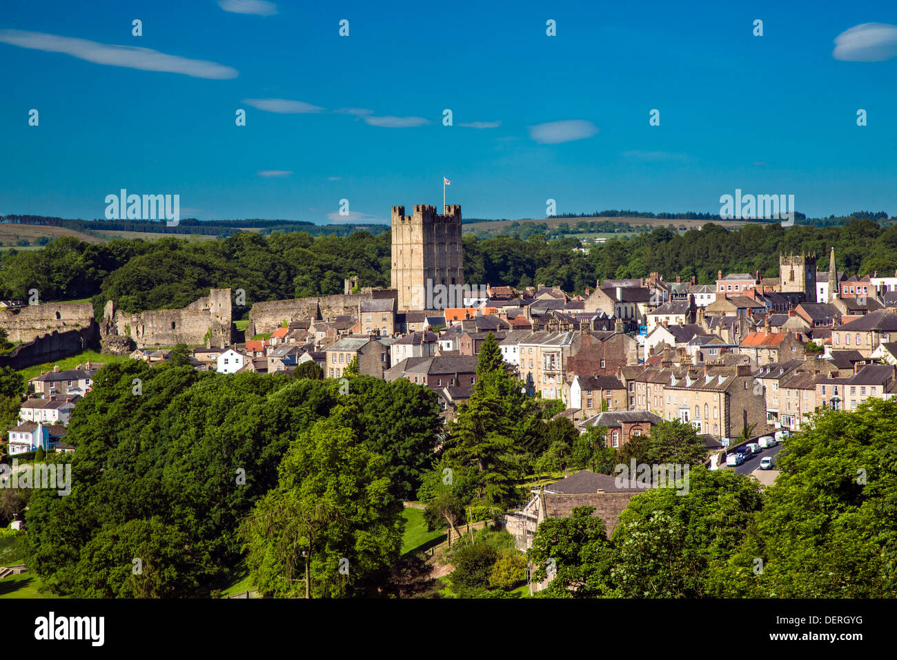 Richmond Yorkshire from Maison Dieu - Stock Image