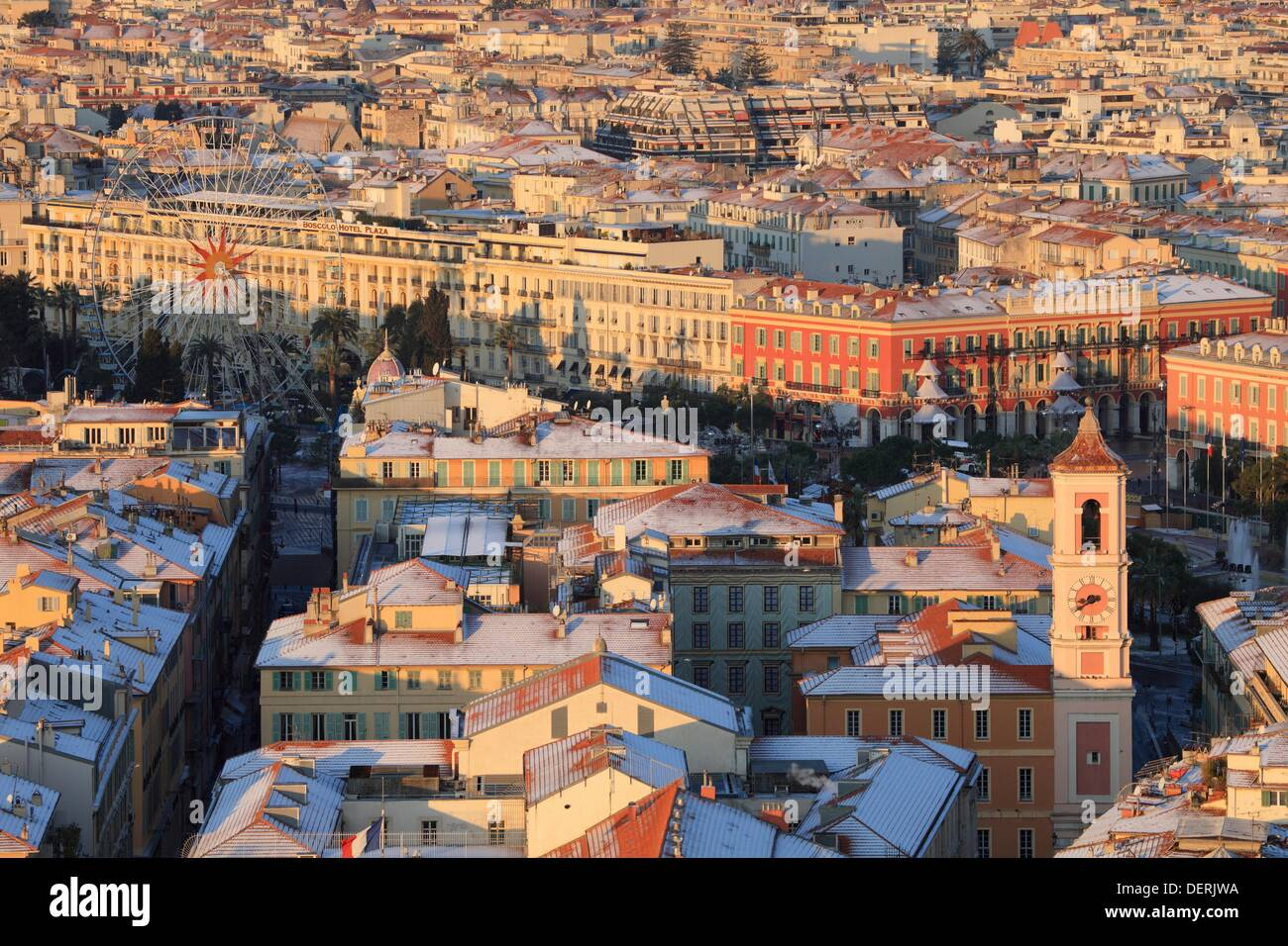 Top view above the snowed roof in winter time in Nice Alpes-Maritimes 06 cote d´azur PACA France Europe - Stock Image