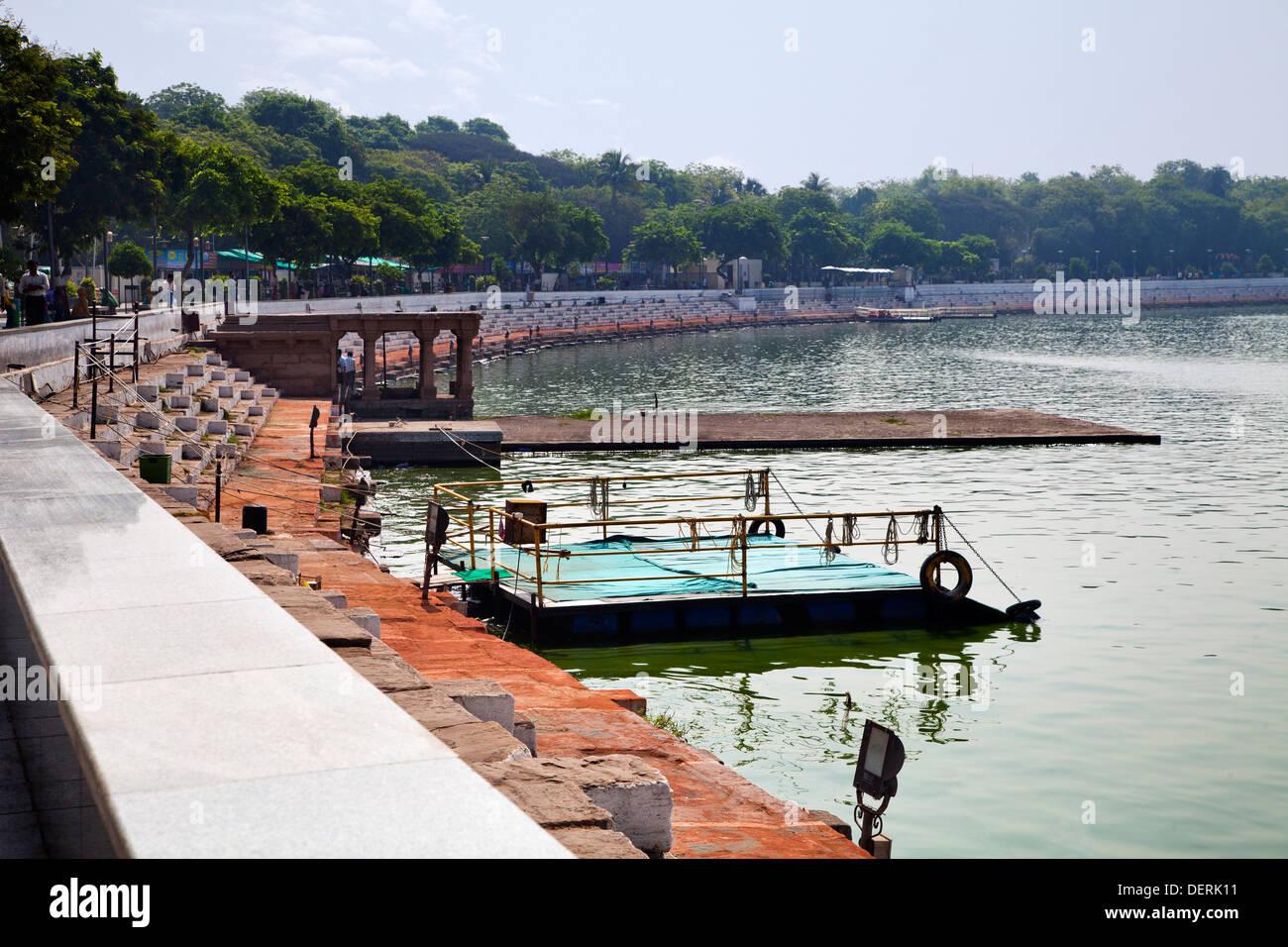 Pier at the lake, Kankaria Lake, Ahmedabad, Gujarat, India - Stock Image