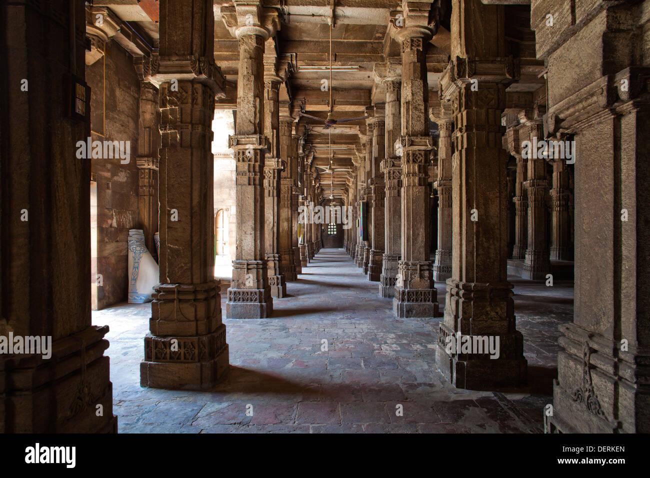 Interiors of a mosque, Jhulta Minara, Ahmedabad, Gujarat, India Stock Photo