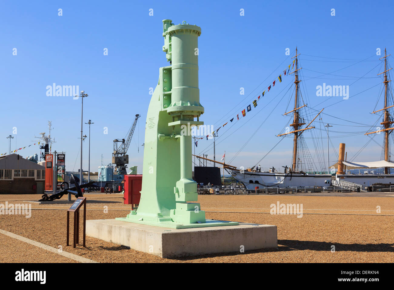 Old 30 cwt Cochrane Steam Hammer on display in the Historic Dockyard at Chatham, Kent, England, UK, Britain - Stock Image