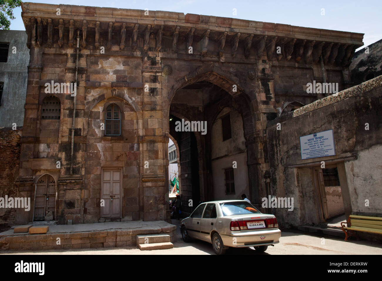 Entrance of the fort, Bhadra Fort, Ahmedabad, Gujarat, India - Stock Image
