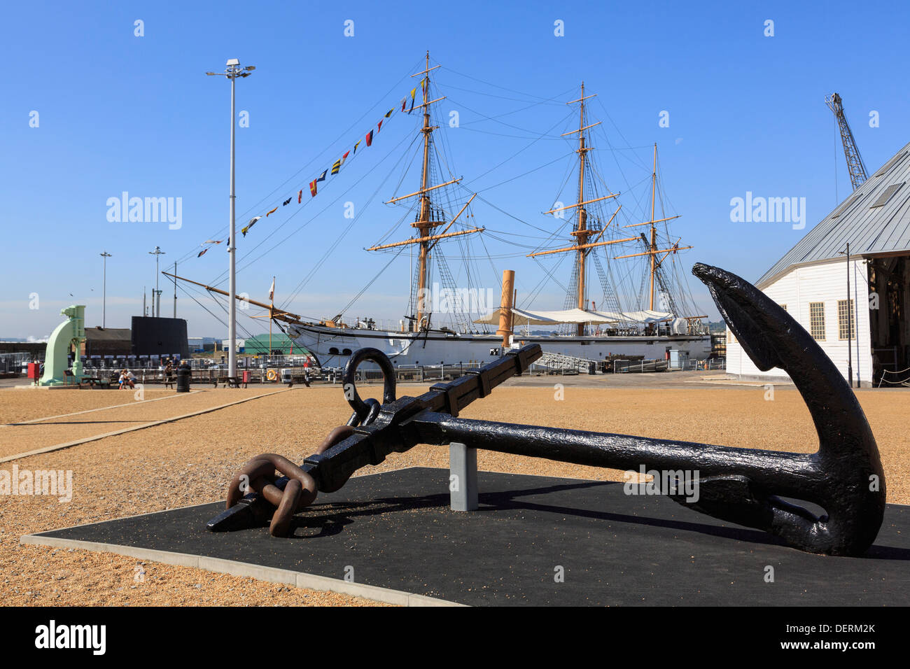 Old anchor on display in the Historic Dockyard at Chatham, Kent, England, UK, Britain - Stock Image