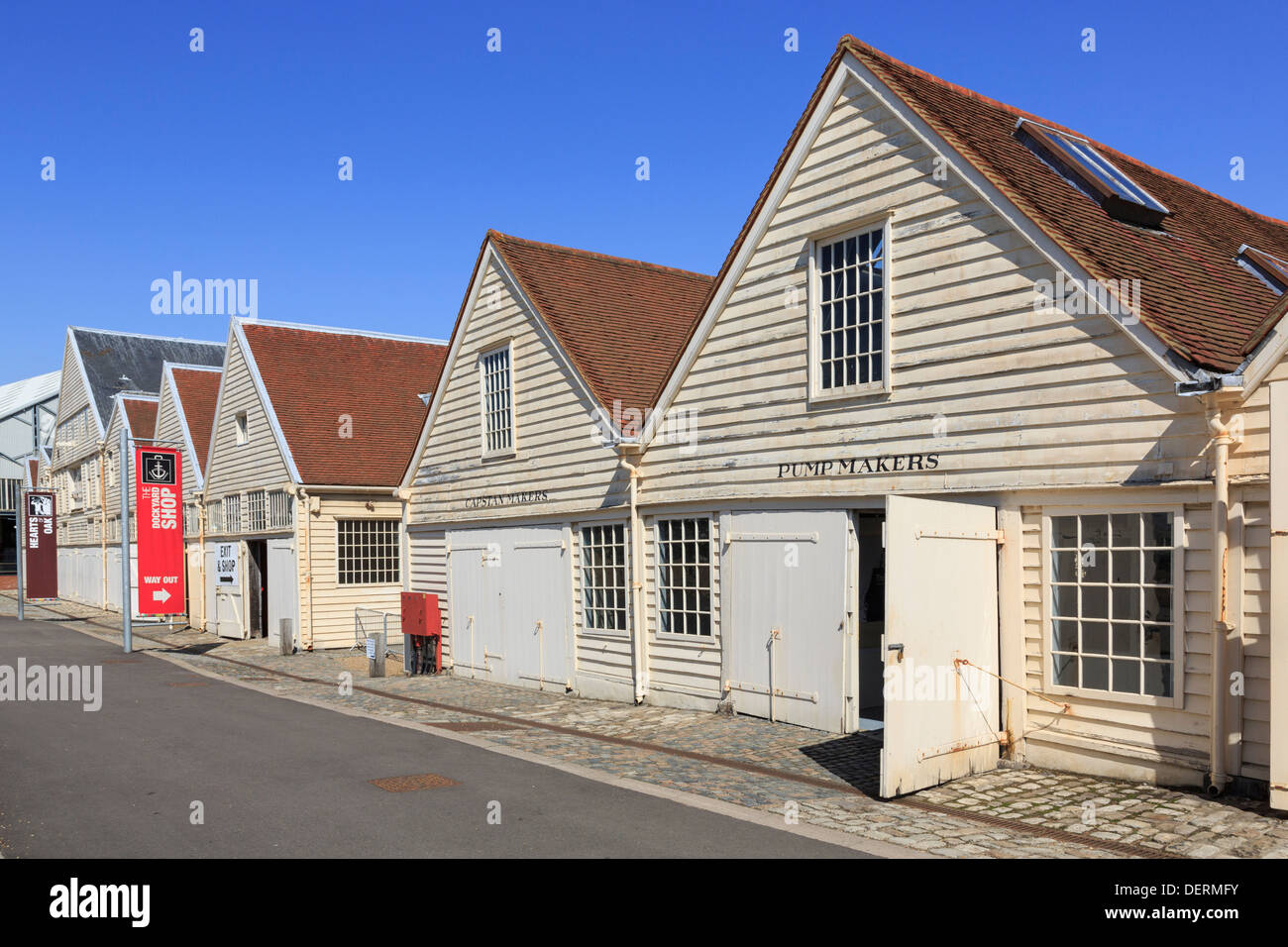 Old workshops in Historic Dockyard buildings at Chatham, Kent, England, UK, Britain - Stock Image