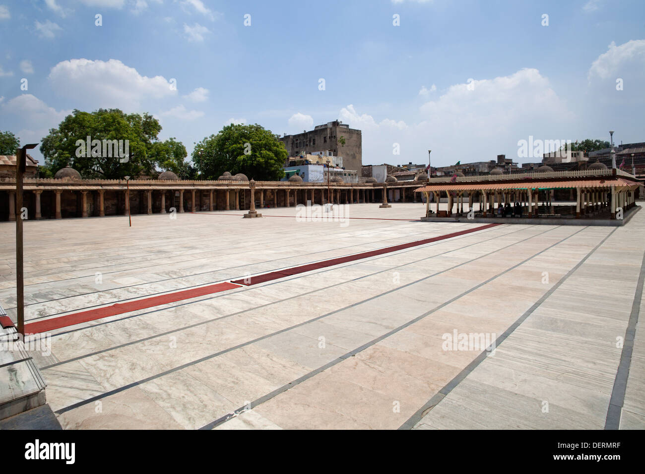 Courtyard of a mosque, Jama Masjid, Ahmedabad, Gujarat, India - Stock Image