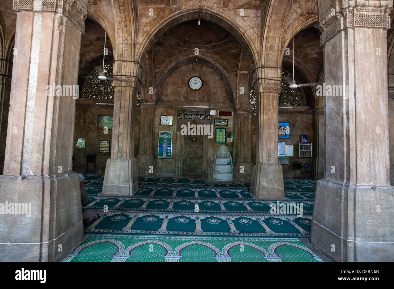 Interiors of a mosque, Sidi Saiyyed Mosque, Ahmedabad, Gujarat, India - Stock Image