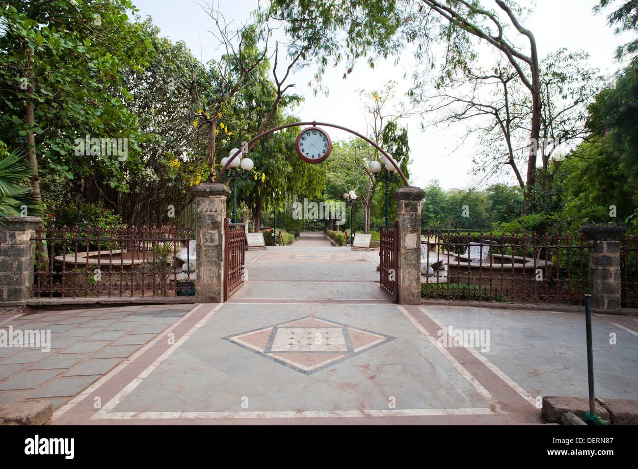 Entrance gate of a garden, Law Garden, Ahmedabad, Gujarat, India Stock Photo