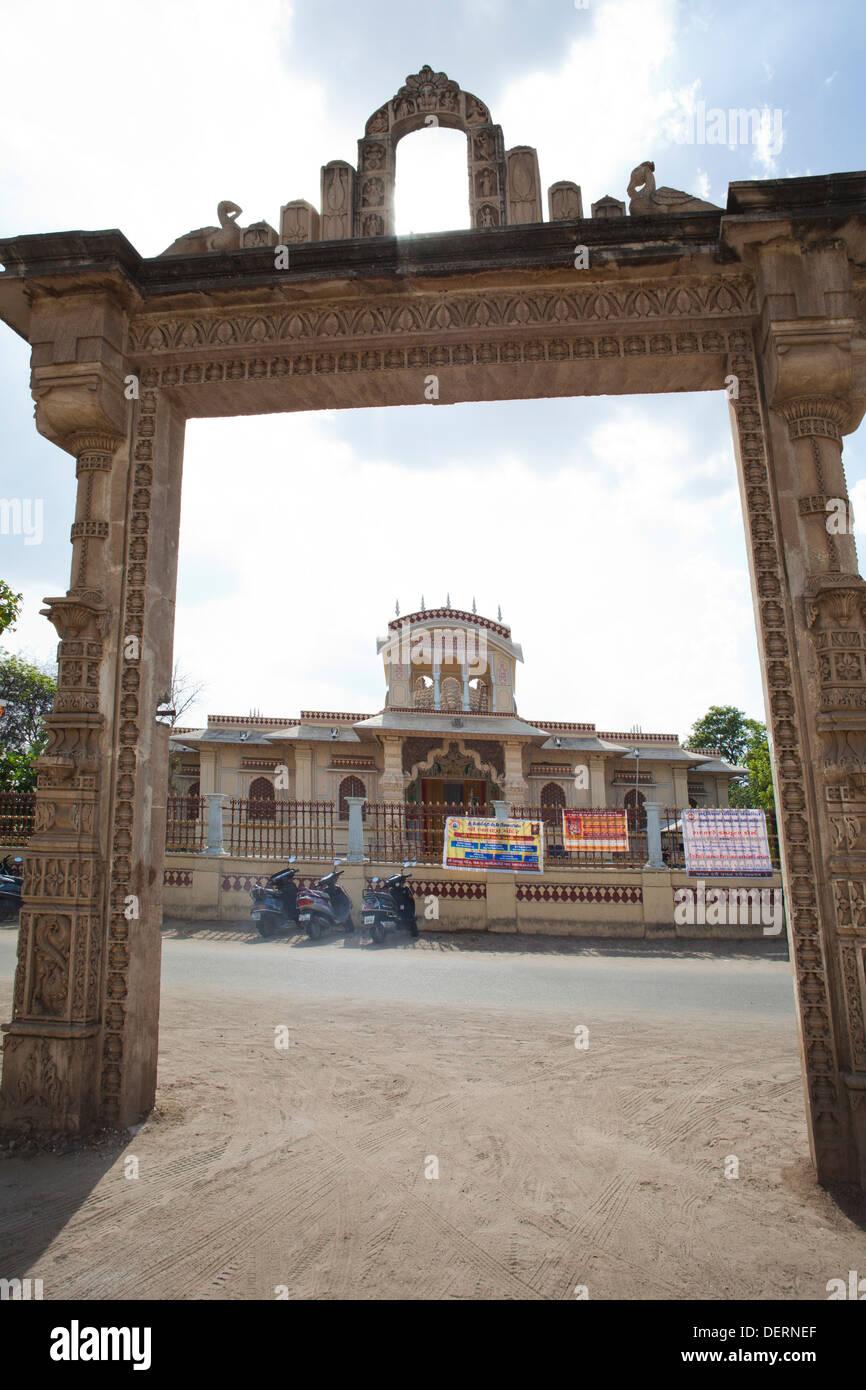 Entrance gate of a temple, Iskcon Temple, Ahmedabad, Gujarat, India - Stock Image