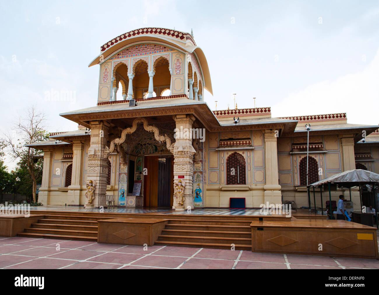 Facade of a temple, Iskcon Temple, Ahmedabad, Gujarat, India - Stock Image