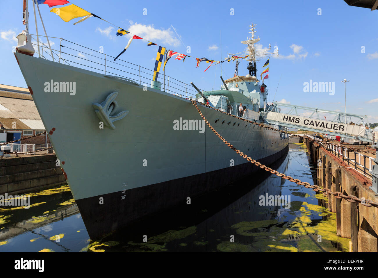 HMS Cavalier Royal Navy C-class destroyer warship at maritime heritage museum in Historic Dockyard at Chatham Kent England UK - Stock Image