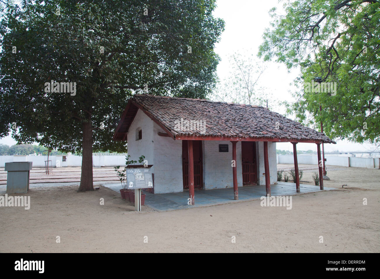 Facade of a hut, Sabarmati Ashram, Ahmedabad, Gujarat, India - Stock Image