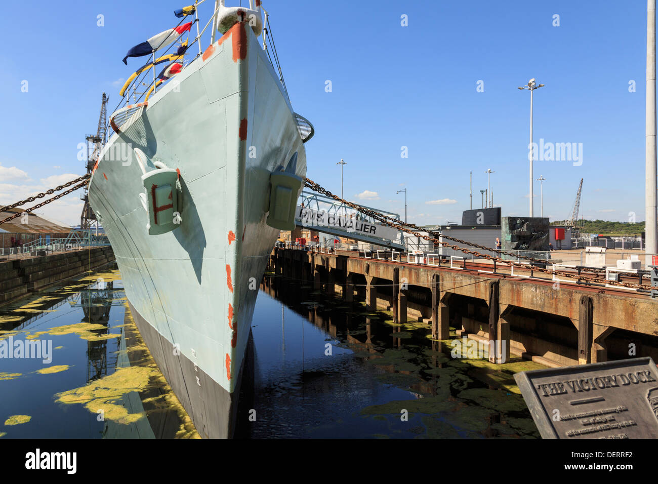 HMS Cavalier Royal Navy destroyer warship at maritime heritage museum in Historic Dockyard at Chatham Kent England UK - Stock Image
