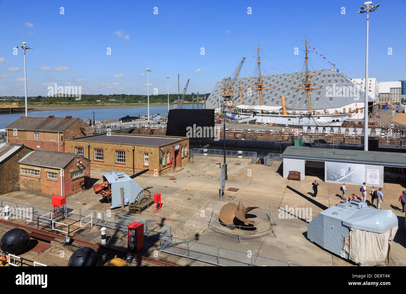 High view from HMS Cavalier at maritime heritage museum in Historic Dockyard at Chatham, Kent, England, UK, Britain - Stock Image