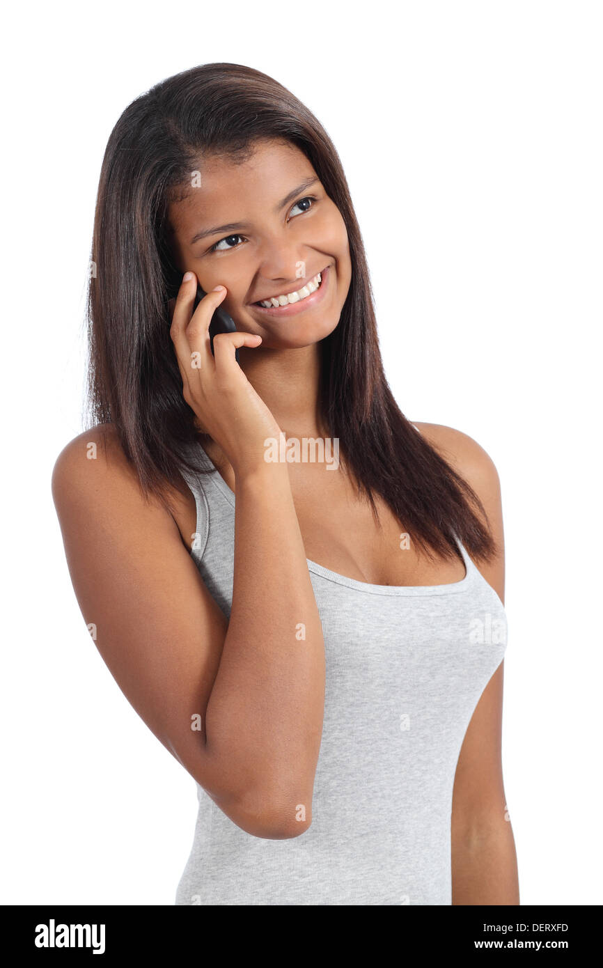 Beautiful african american girl on the phone isolated on a white background Stock Photo