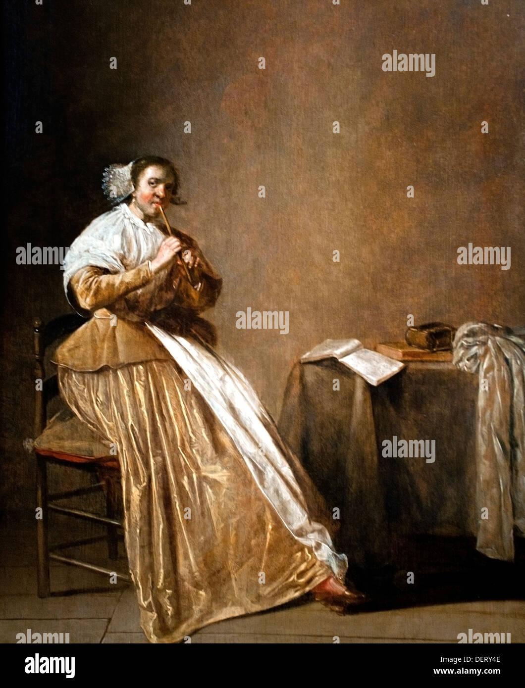A woman playing the flute 1630  Dirck Hals 1591-1656 Dutch Netherlands - Stock Image