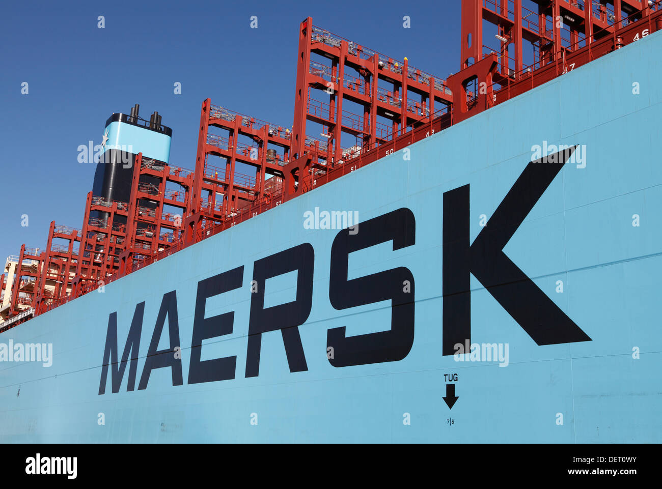 Copenhagen, Denmark, Sept. 23rd. Maersk Line's triple-E ship Majestic Maersk arrived to Langelinie in port of Copenhagen last night for a week of presentation and name giving ceremony. On Wednesday Her Royal Highness the Crown Princess names the world's largest ship.This marks the opening of the vessel and the exhibition at Langelinie, and the public is offered a tour on the container ship. More than 42,000 people have already booked their ticket to board the ship, 400m long and 59m wide. The Majestic Maersk is the second of Maersk's 20 ordered Triple-E ships. Credit:  Niels Quist / Alamy Liv - Stock Image