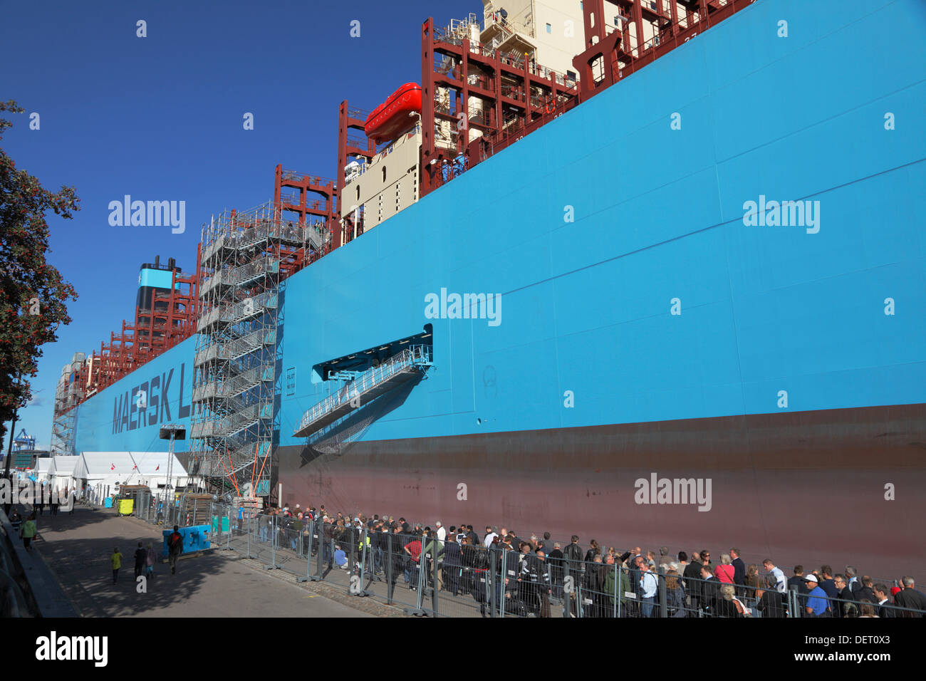 Copenhagen, Denmark, Sept. 23rd. Maersk Line's triple-E ship Majestic Maersk arrived to Langelinie in port of Copenhagen last night for a week of presentation and name giving ceremony. On Wednesday Her Royal Highness the Crown Princess names the world's largest ship.This marks the opening of the vessel and the exhibition at Langelinie, and the public is offered a tour on the container ship. More than 42,000 people have already booked their ticket to board the ship, 400m long and 59m wide. The Majestic Maersk is the second of Maersk's 20 ordered Tripple-E ships. Credit:  Niels Quist / Alamy Liv - Stock Image