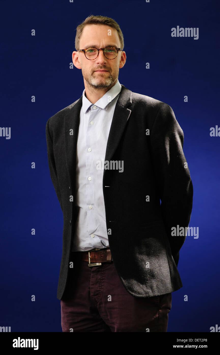 Will Storr, Novelist and an award winning longform journalist, attending the Edinburgh International Book Festival 2013 - Stock Image