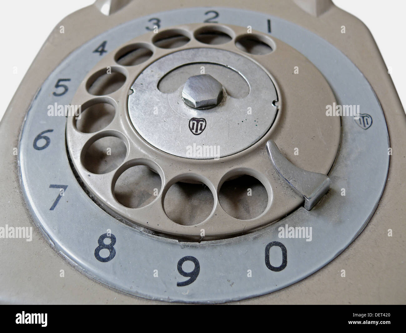 Communications dial of old Bakelite Telephone  Pune, Maharashtra, India - Stock Image
