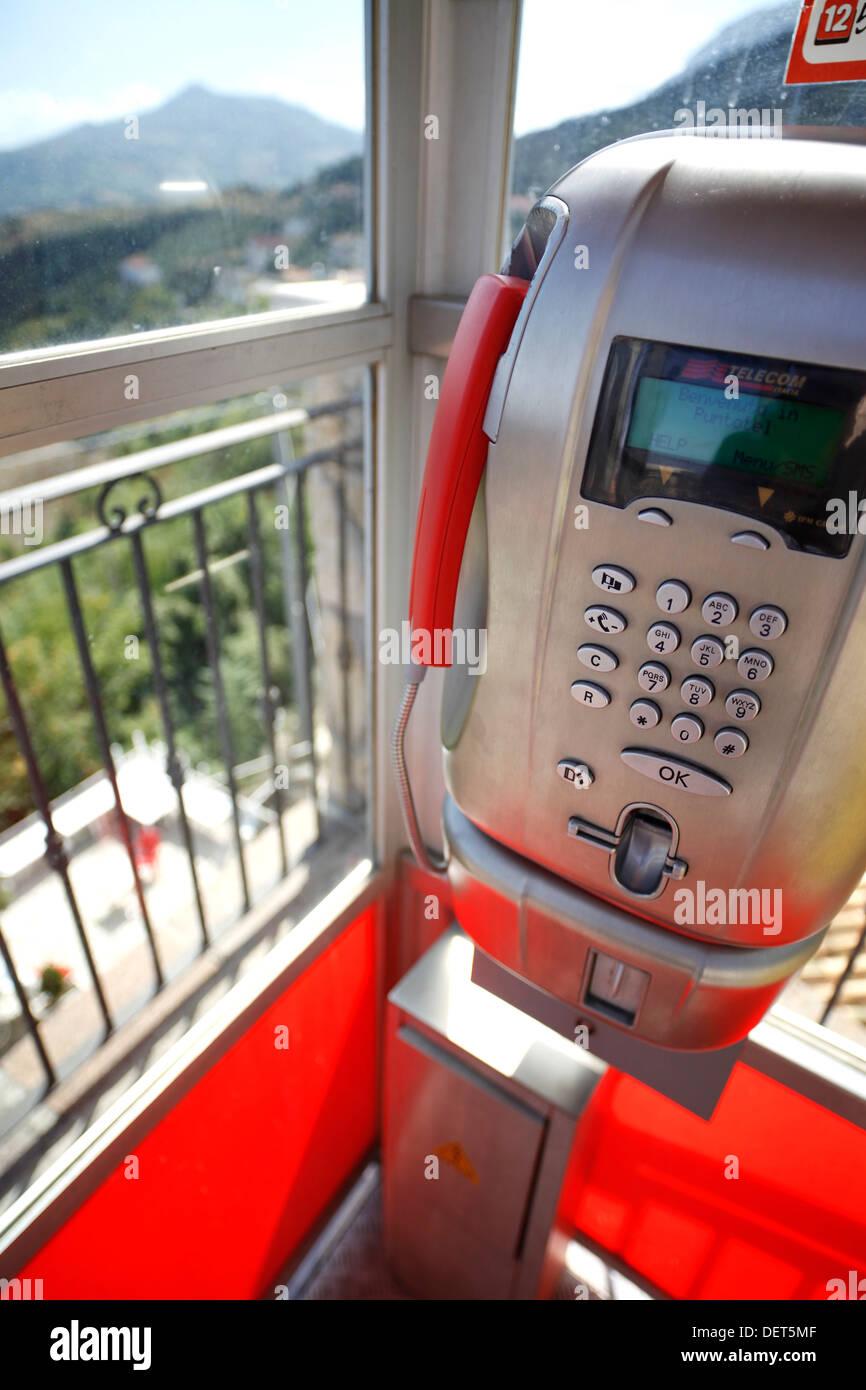 Telecom Italia payphone. - Stock Image
