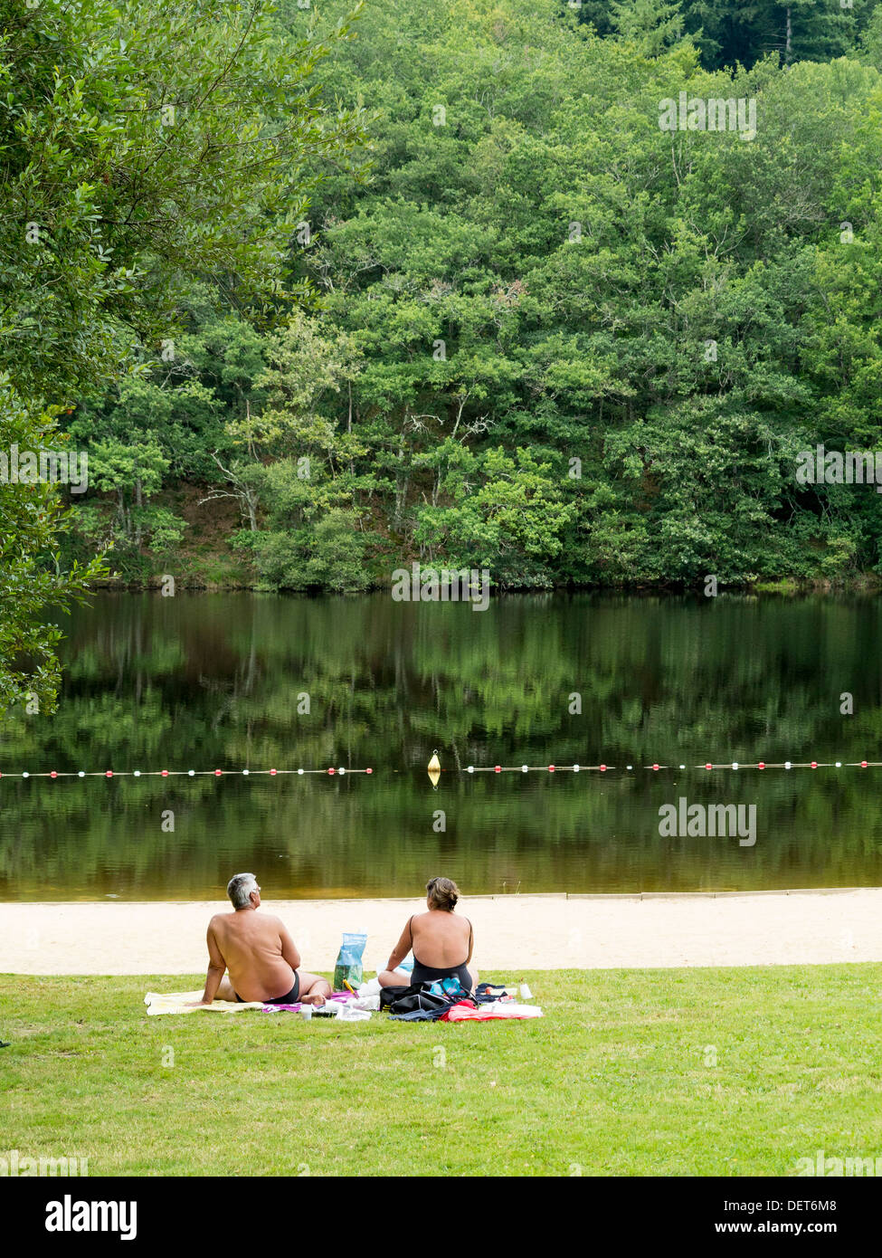 Man made river beach on the River Maulde in the Pays Mont et Barrages area of Haute-Vienne, Limousin, France. - Stock Image