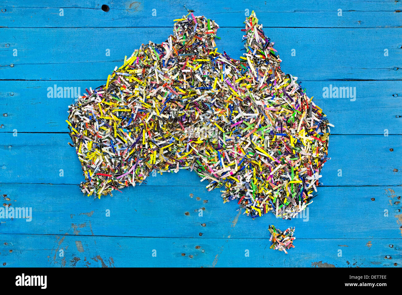 Map of australia made out of recycled shredded paper on rustic blue map of australia made out of recycled shredded paper on rustic blue boards map created by photographer gumiabroncs Image collections