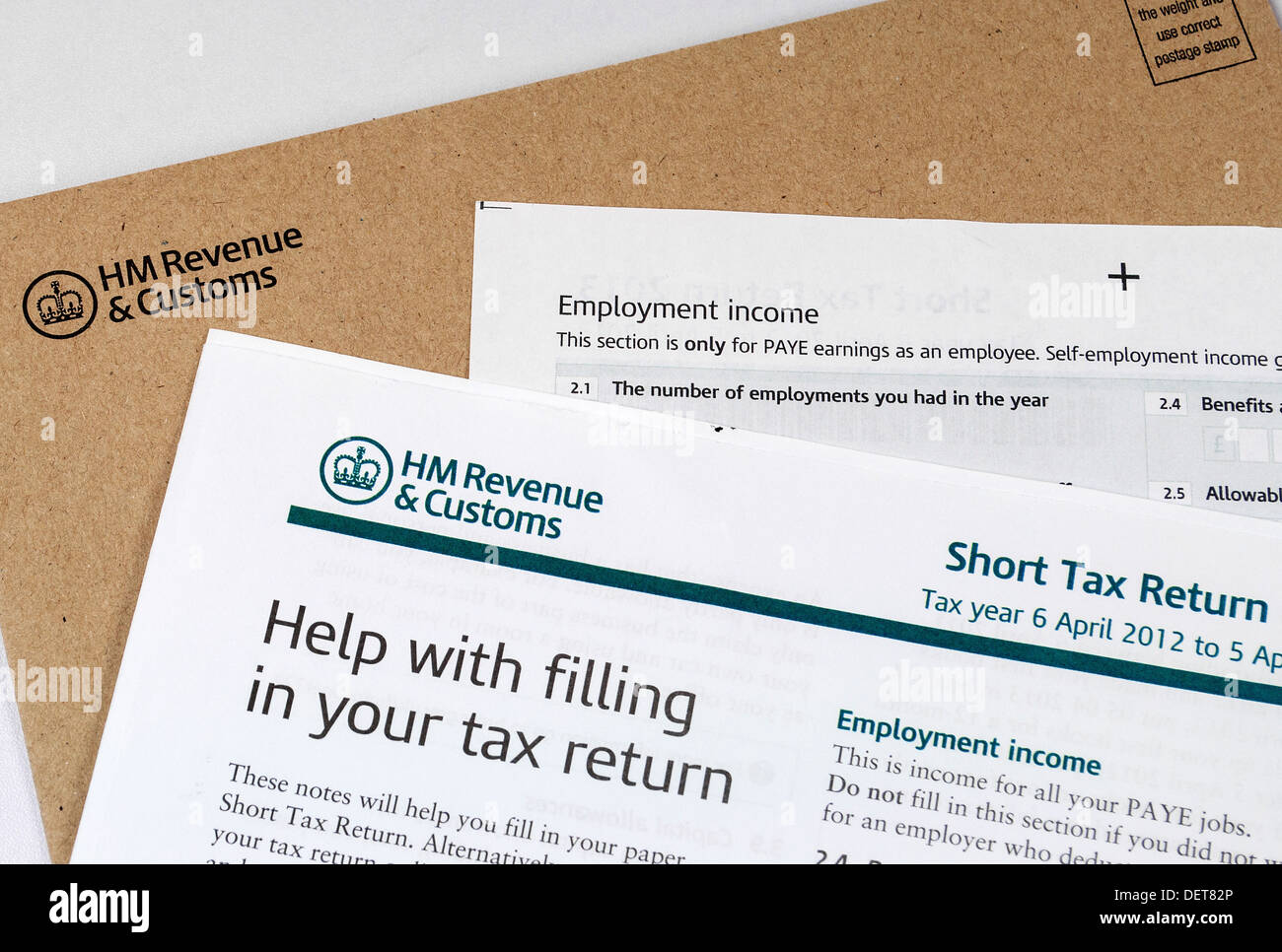 HMRC income tax return forms - Stock Image