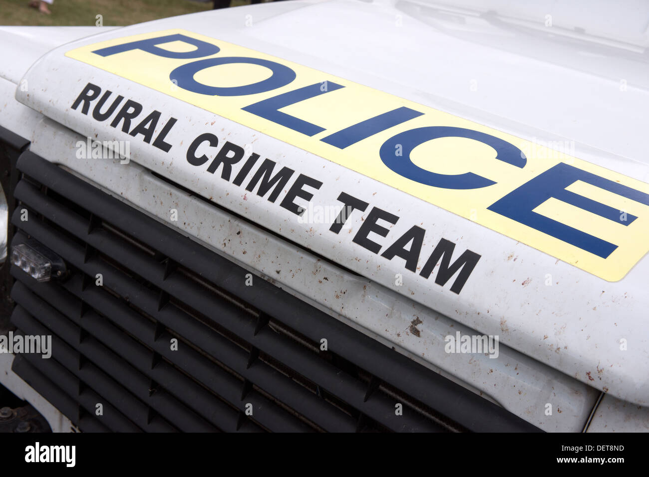 The text on the Wiltshire Police rural crime teams vehicle - Stock Image
