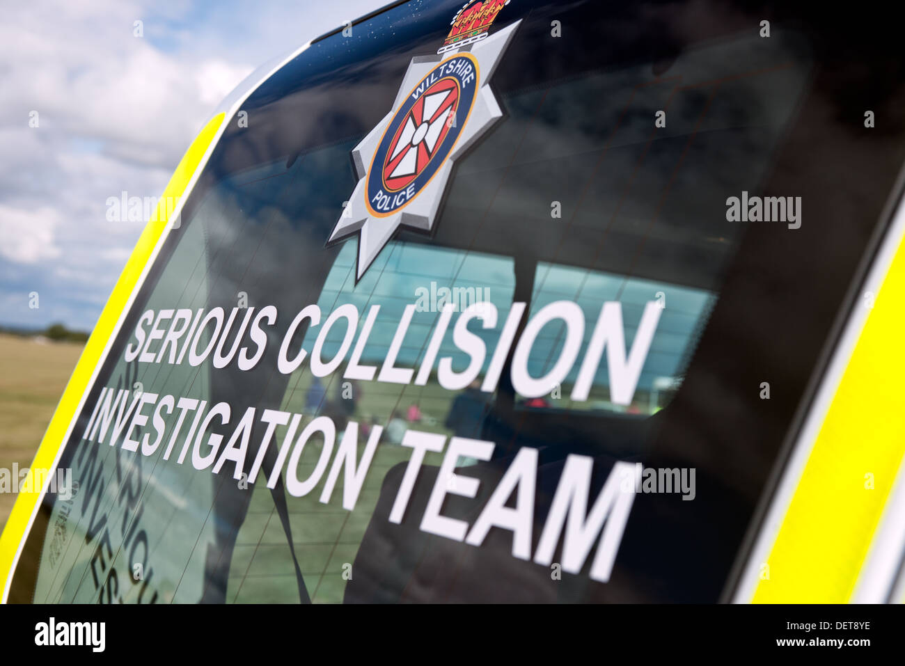 The text on a screen of Wiltshire police's serious collision investigation team's vehicle - Stock Image