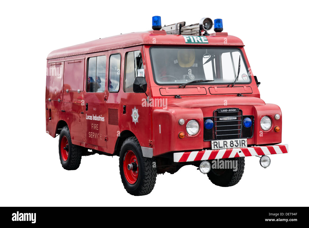 A British historic 109 Land Rover forward control fire engine coach built by Carmichael - Stock Image