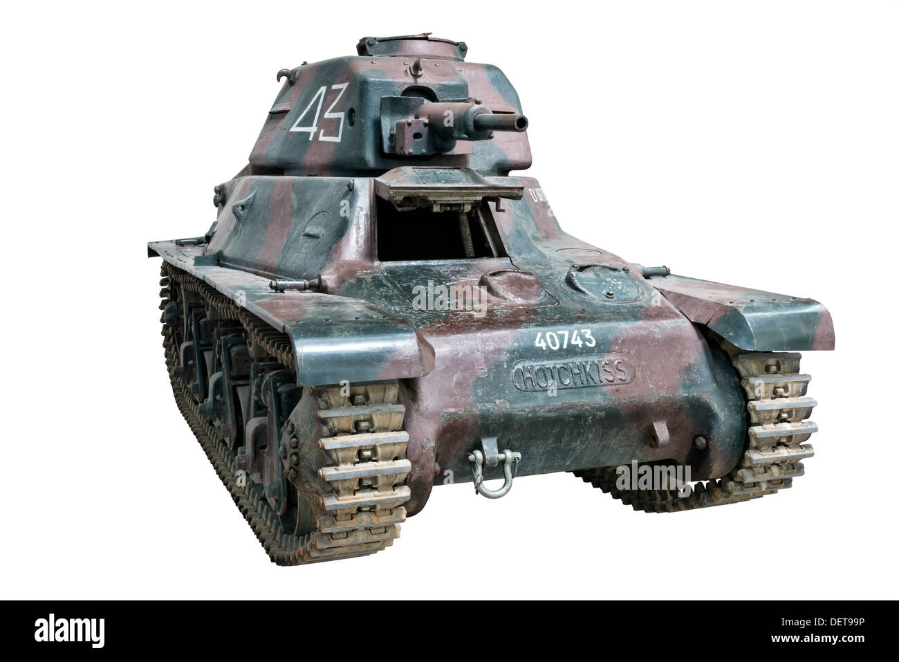 A Hotchkiss H39 light tank used by French forces at the outbreak of WW2 - Stock Image