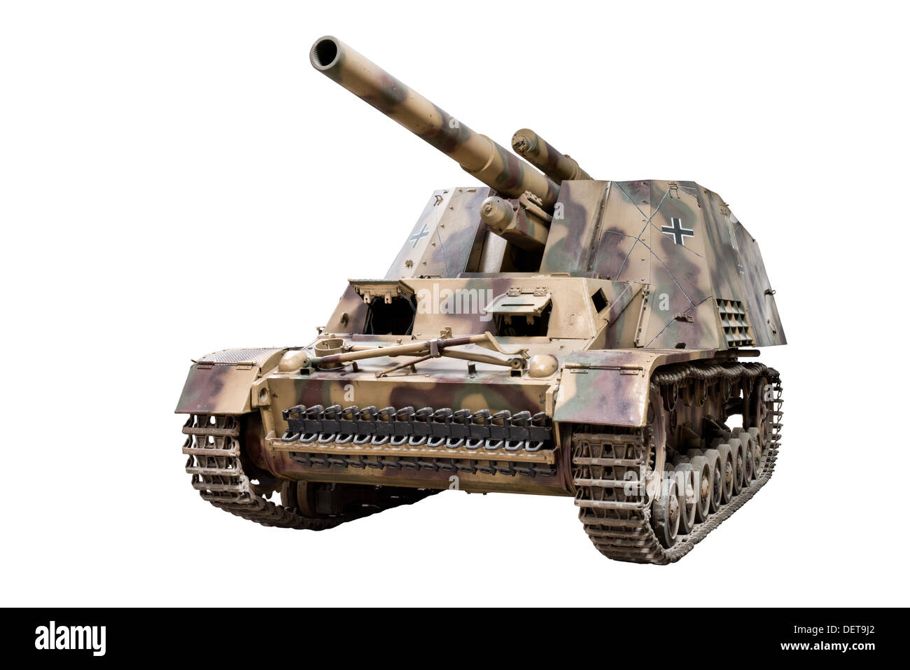 A cut out of a Hummel( Sd.Kfz.165) 150mm self propelled heavy field Howitzer. Used by Nazi German forces during WW2 - Stock Image