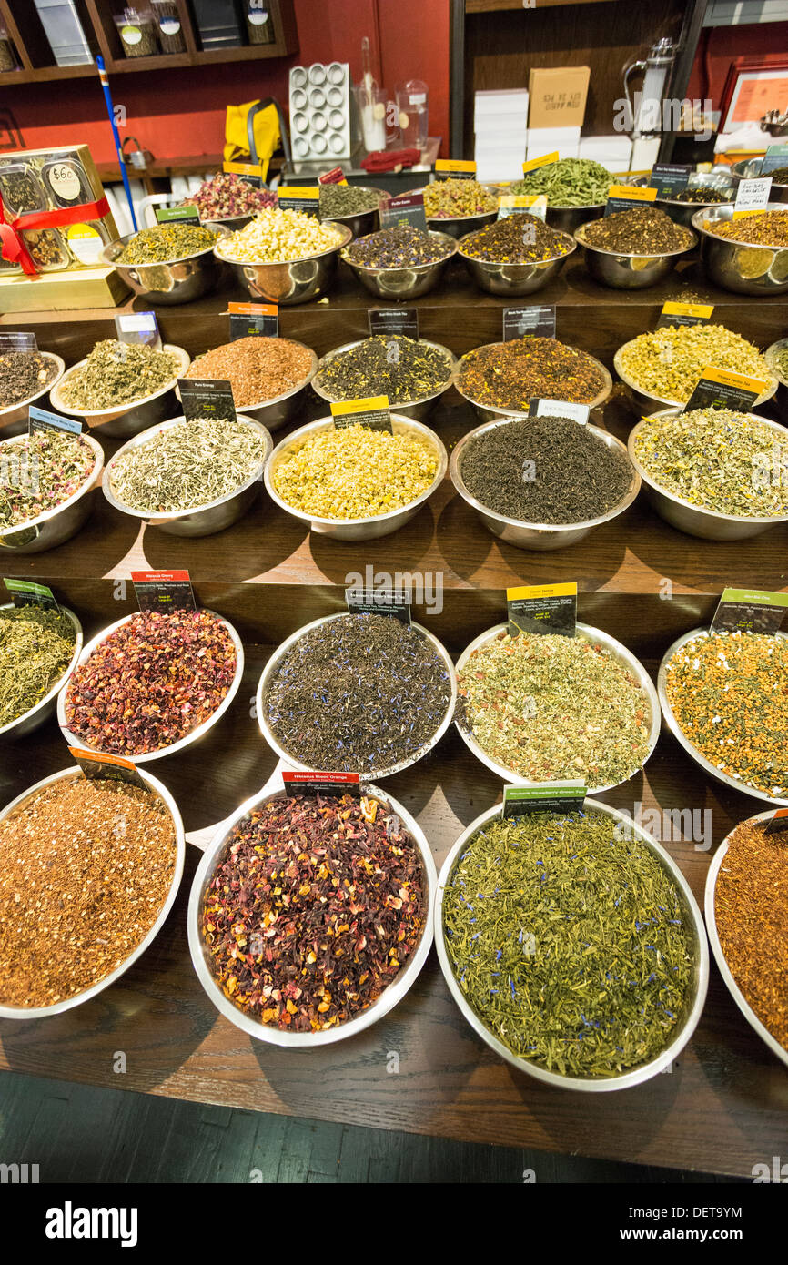 Spices and Tease store at Chelsea Market, New York City, NY Stock Photo