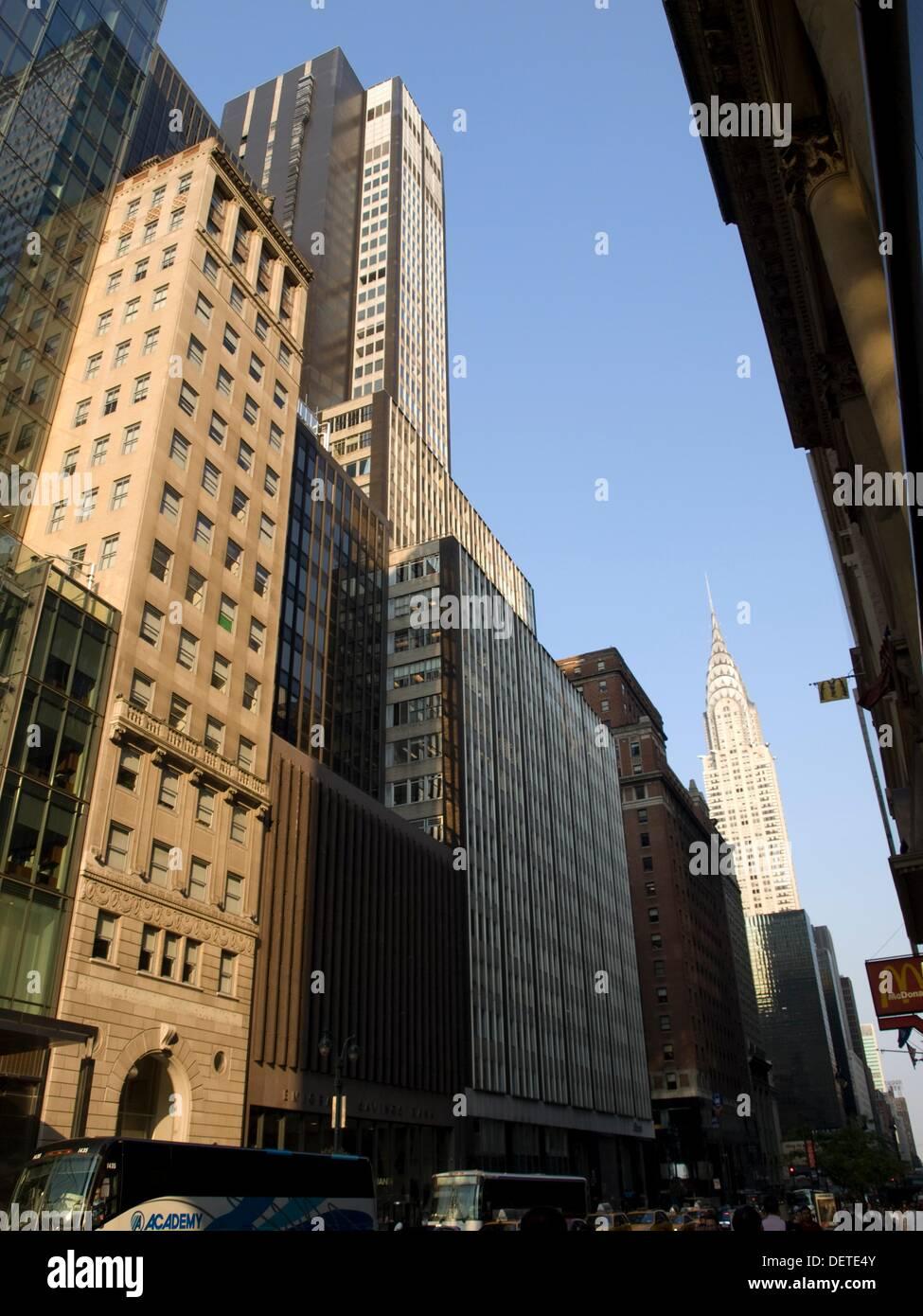 42nd Street and Chrysler Building, Manhattan, New York, USA - Stock Image
