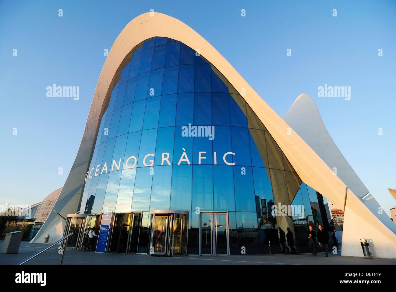 Oceanografic designed by Felix Candela, integrated in the complex known as the Ciutat de les Arts i les Ciències (City of Arts - Stock Image