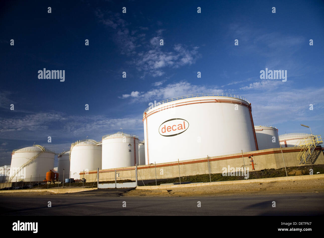 Coastal terminals for oil and chemical products of Italian company Decal in chemical industries complex. Palos de la Frontera, - Stock Image