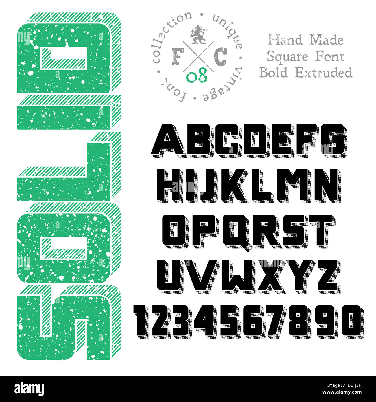 Handmade Sans Serif Font Bold 3d Extruded Stock Photos