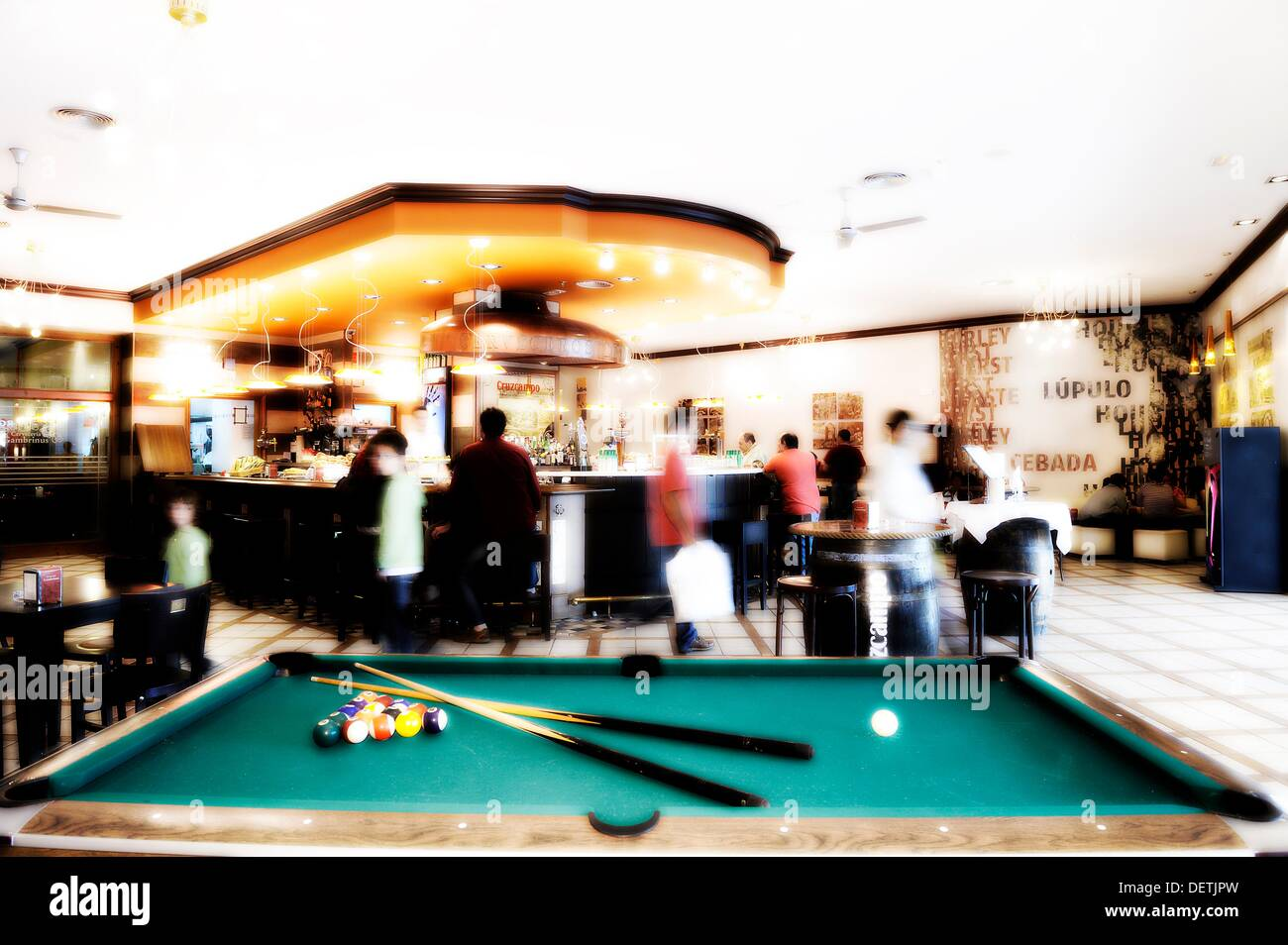 Pool Table Inside A Snack Bar Stock Photo Alamy - Inside a pool table