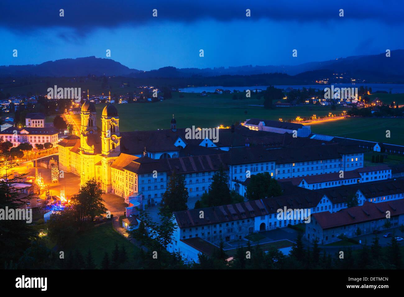 Europe, Switzerland, Einseideln, Klosterkirche monastery, baroque style facade - Stock Image