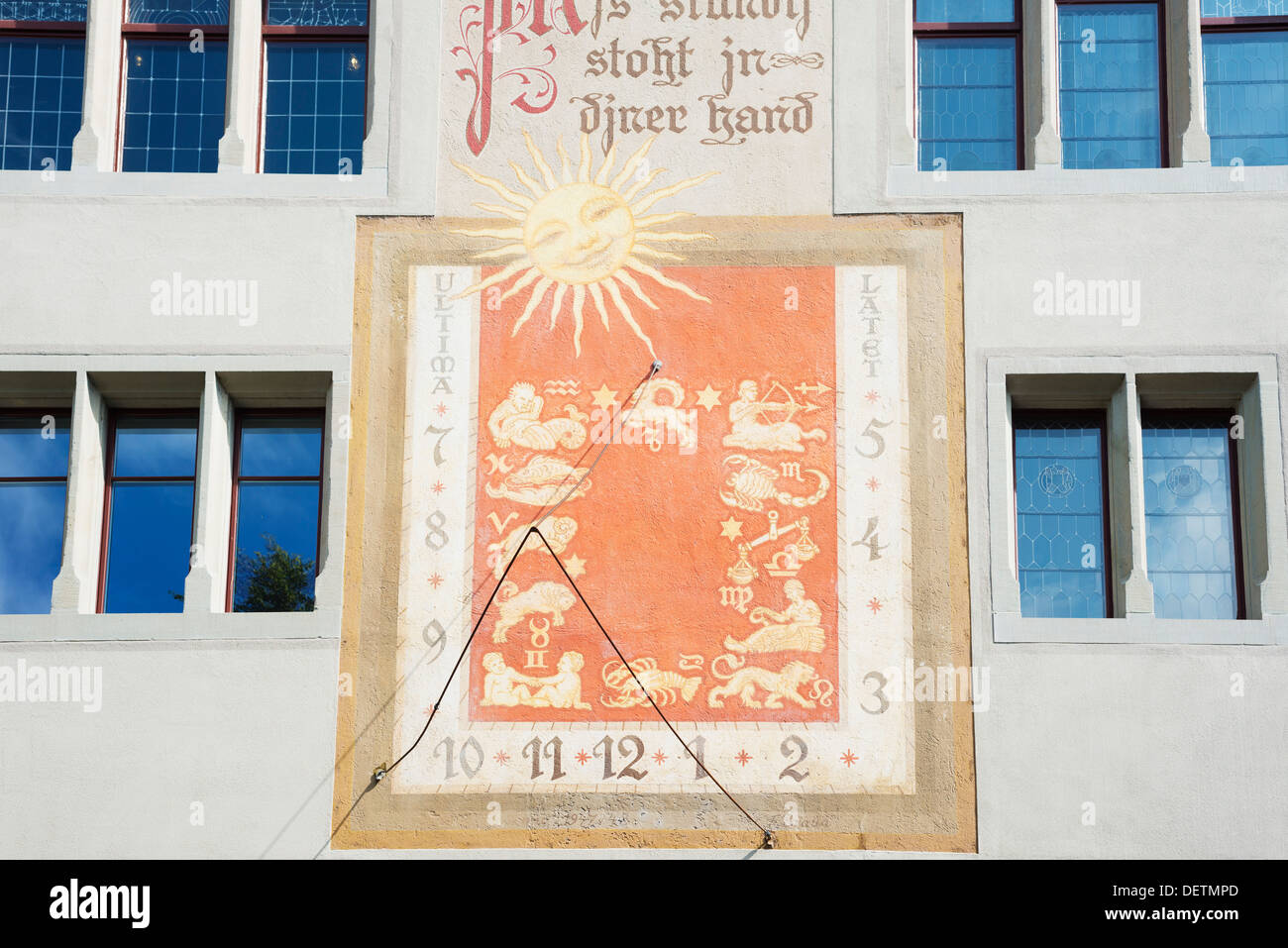 Europe, Switzerland, Rapperswil Jona old town, sun dial - Stock Image