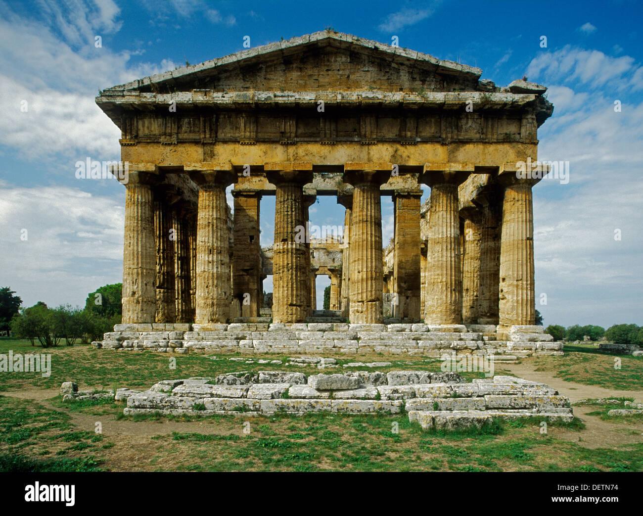 Temple of Neptune (5th century BC) at Paestum, Campania, Italy - Stock Image