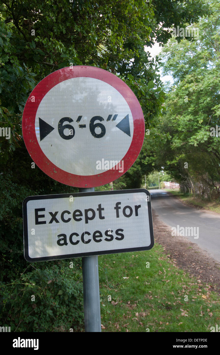6 foot 6 inches maximum width road sign, except for access - Stock Image