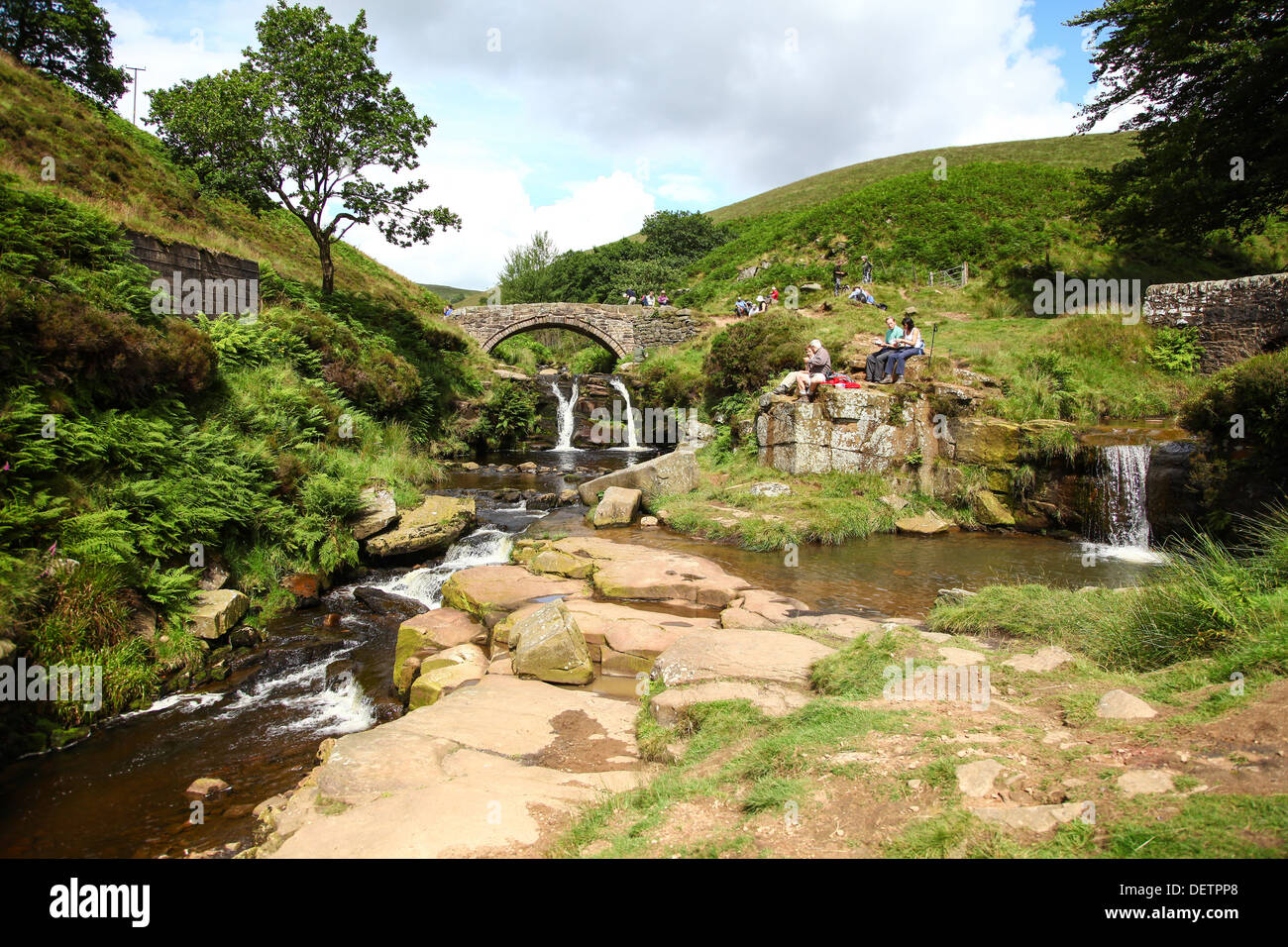 Packhorse Bridge at the River Dane at Three Shires Head where the counties of Cheshire Derbyshire Staffordshire meet England UK - Stock Image