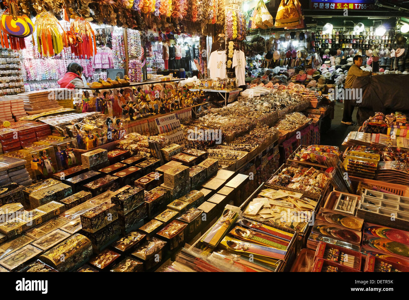 typical korean gift shop at a nightmarket in Seoul, South Korea, Asia - Stock Image