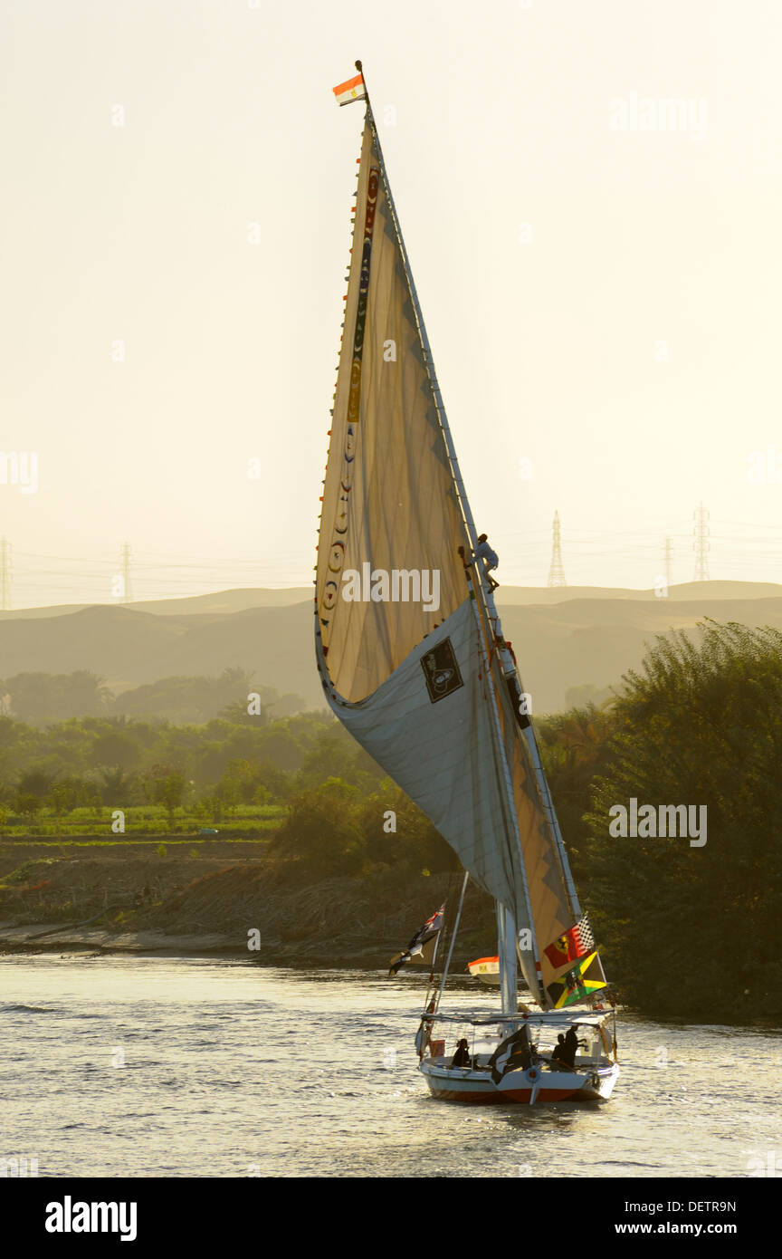 Unfurling sail of felucca on River Nile between Aswan and Luxor, Upper Egypt - Stock Image