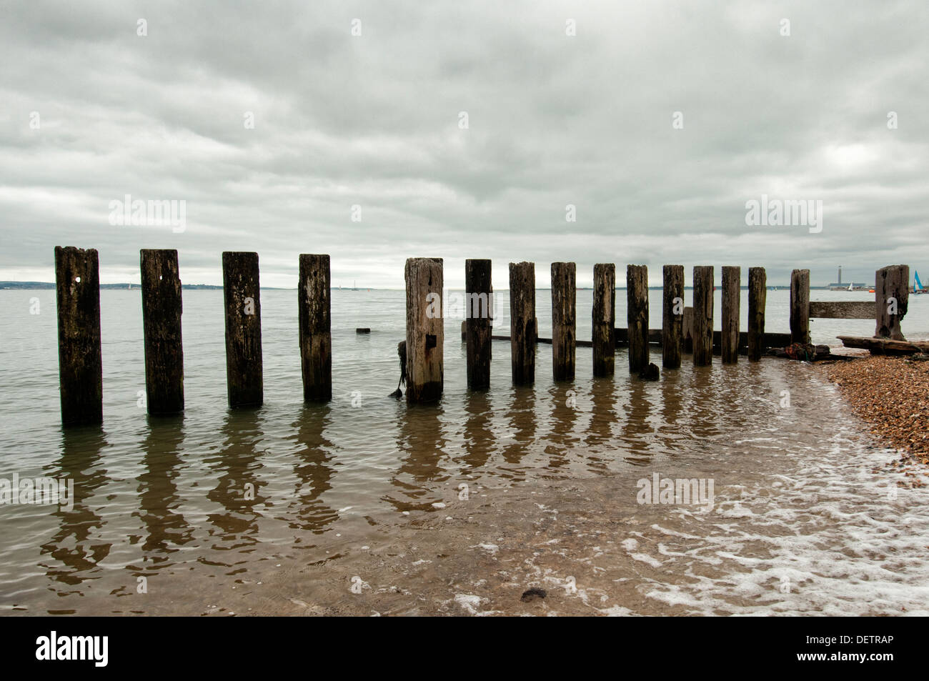 old wooden posts on the beach, sea defence against coastal erosion - Stock Image