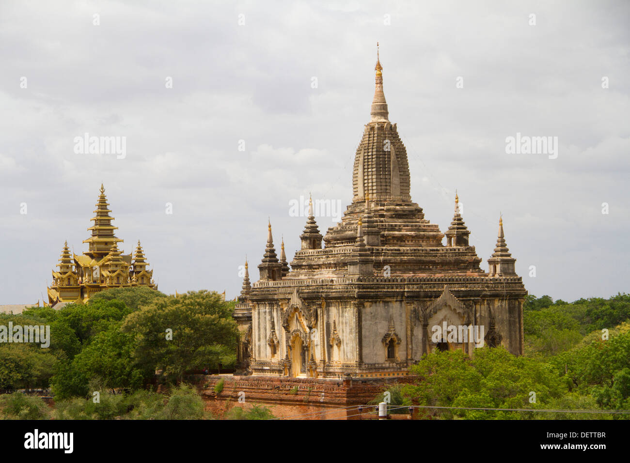 A view of temples from Thatbyinnyu temple in Old Bagan. Stock Photo