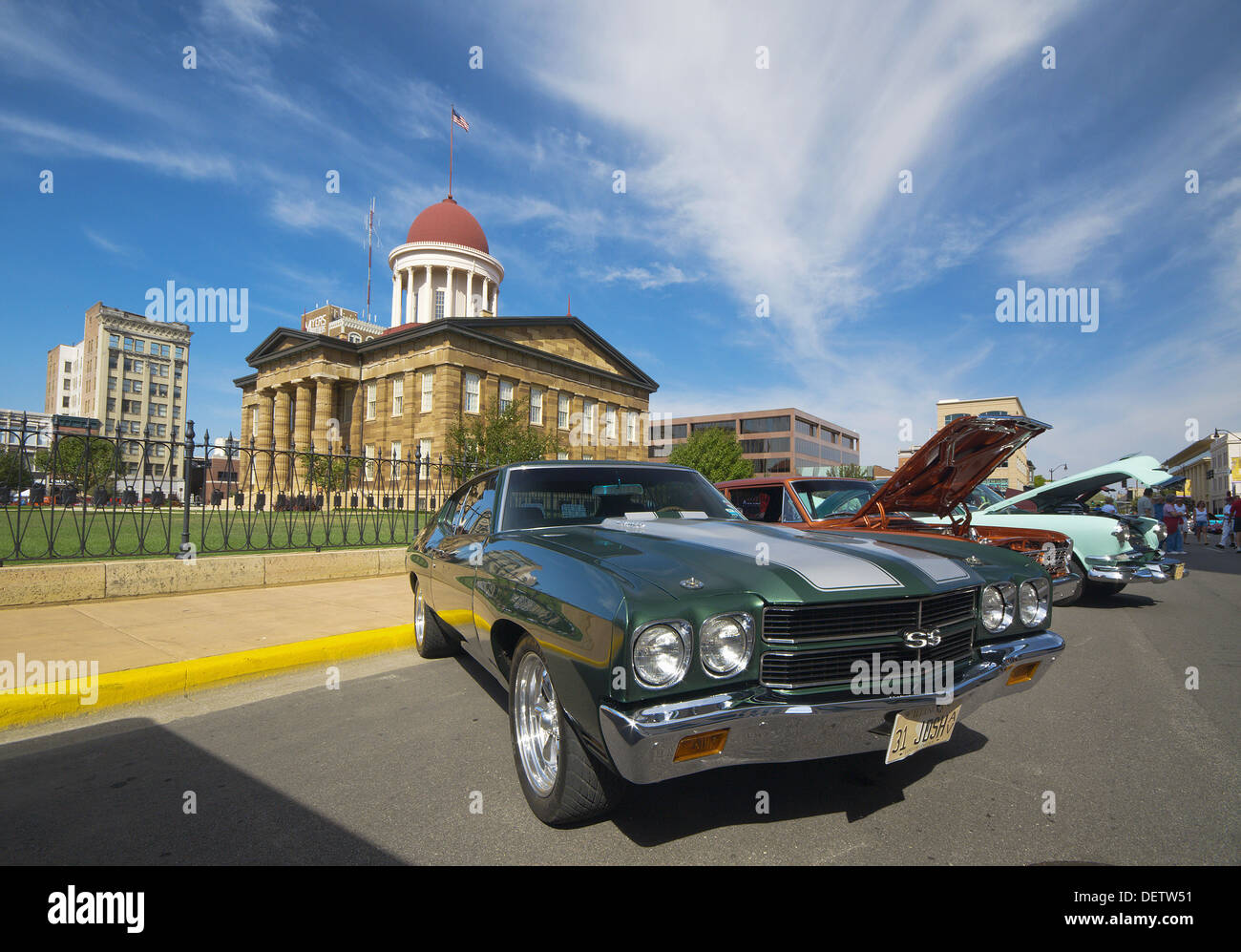 USA Illinois Springfield Old Capitol Building and Classic Cars ...