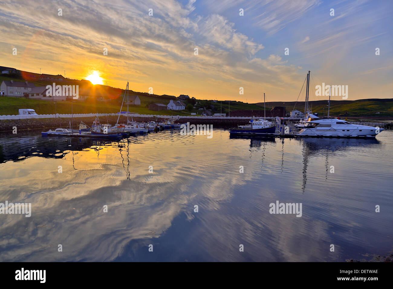 Skeld Harbour and Campsite; Shetland; UK - Stock Image