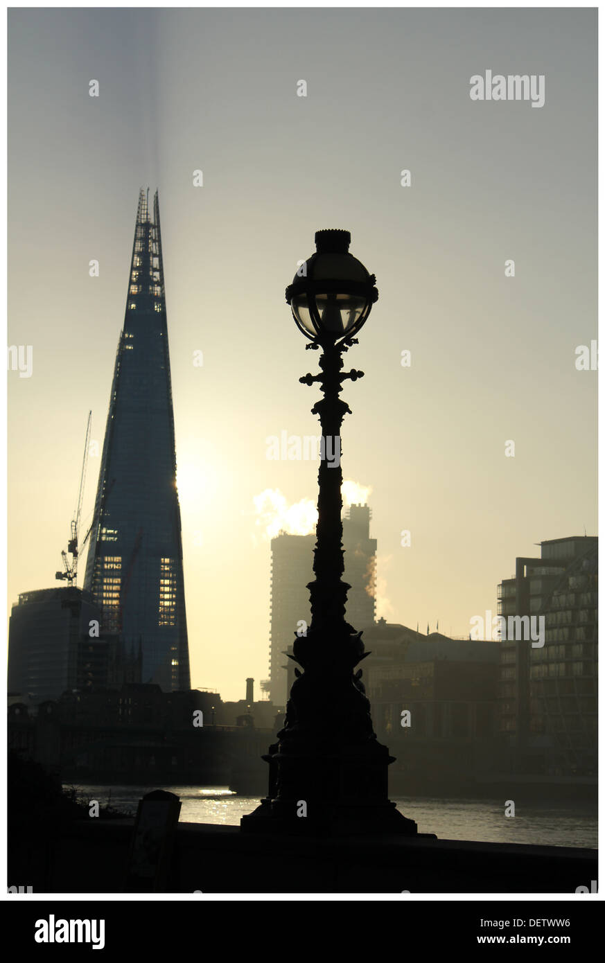 Old Lamps for New London Shard versus Old Street Lamp - Stock Image